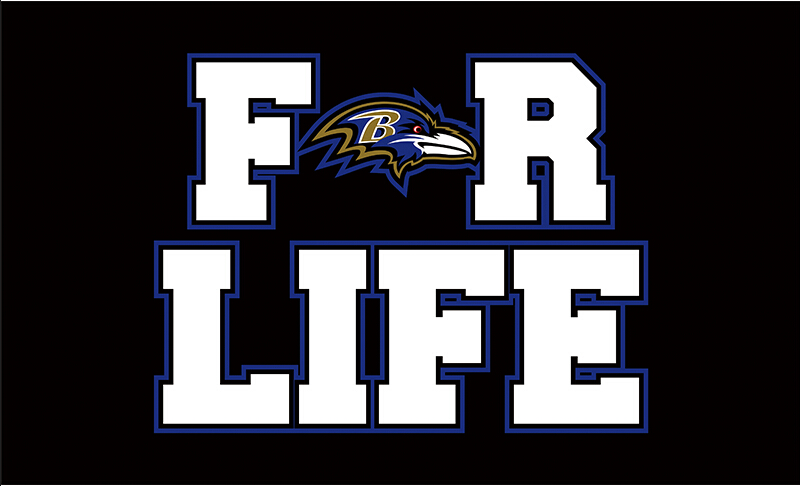 3x5ft cheap polyester Baltimore Ravens for life with purple outline flag with 2 metal grommets(China (Mainland))