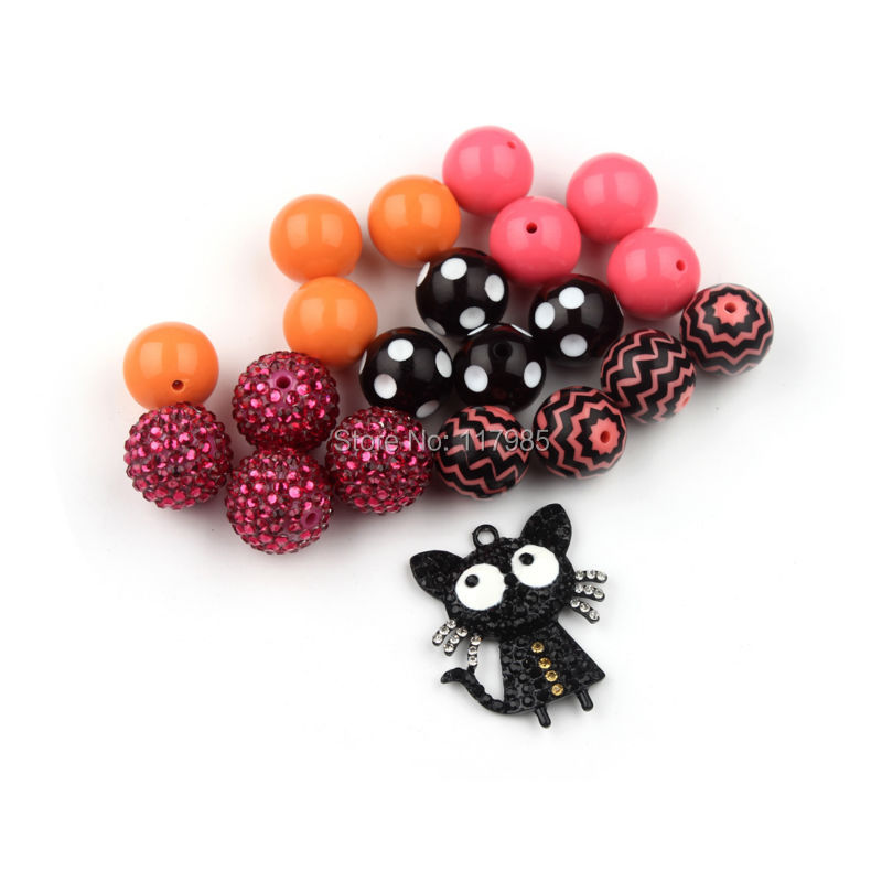Black Cat Inspired Chunky Necklace Beads Set DIY Bubblegum Jewelry Mixed 20mm Gumball Necklace Jewelry Kits<br><br>Aliexpress