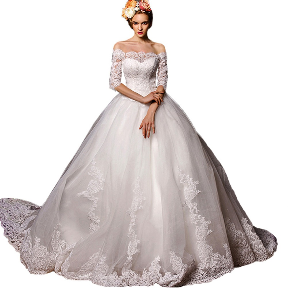 Buy ball gown boat neck half sleeve lace china wedding for Tulle wedding dress with sleeves