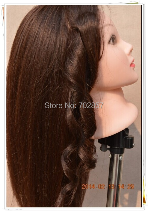 """Free Shipping 22"""" training head 65% Human Hair can be iron curly Hairdressing Mannequin Training Head High Quality(China (Mainland))"""