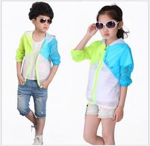 New 2016 Children's Summer Spell Color Sunscreen Clothing Kids Boys Girls Family Clothing Ultra-thin Air-Conditioned Sweatshirts(China (Mainland))