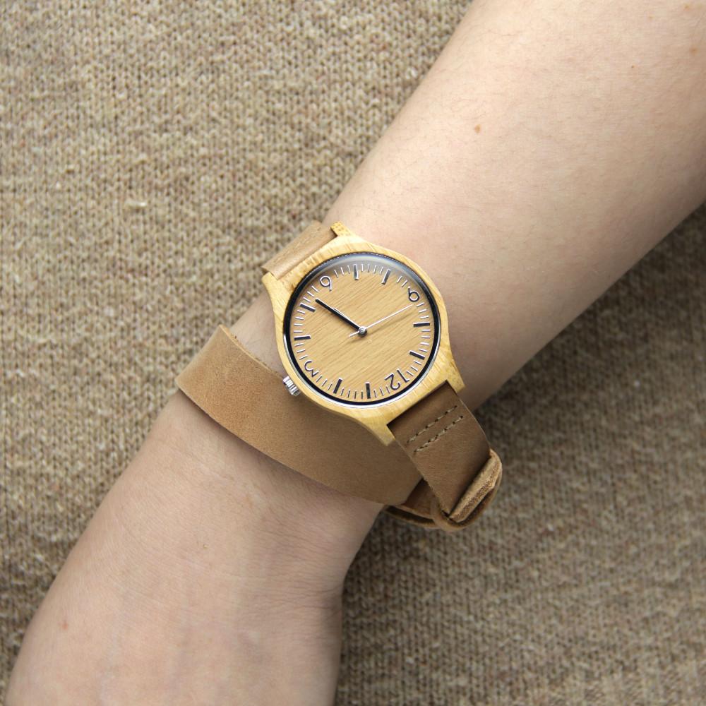 Бамбук Деревянный Женские Часы Для Друзей Подарки С Длинным Натуральная Кожа Starps