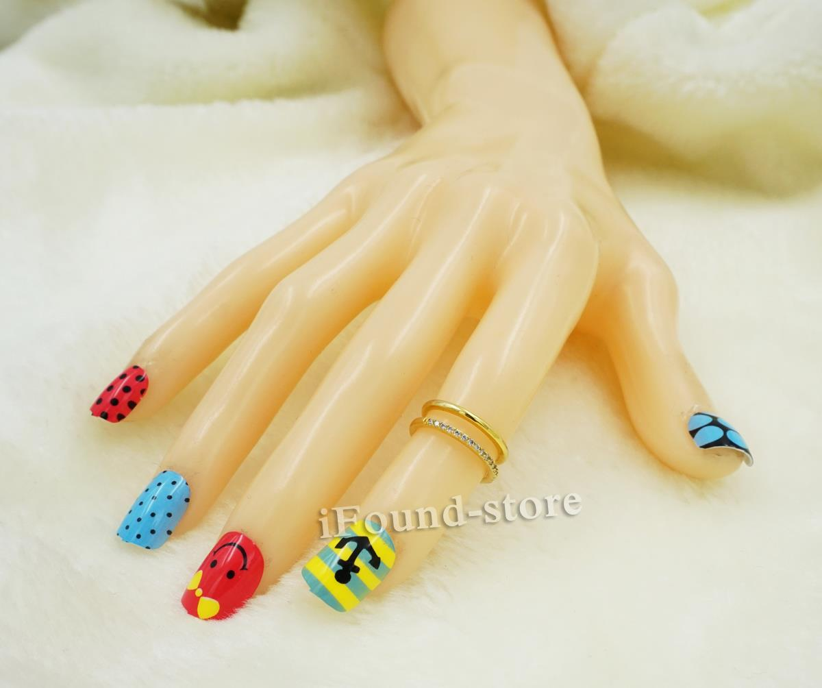 For Kids Children Girl New 12pieces Colorful 3D Fashion Cute Style Plastic Art Short Fake False Sticker Nail Tips with Free Glue