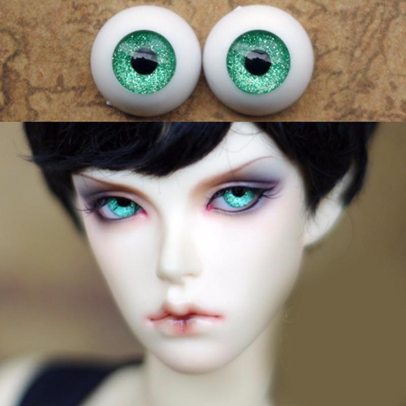 12mm Hand Made BJD Doll Eyes Pearlized Green Acrylic Half Ball