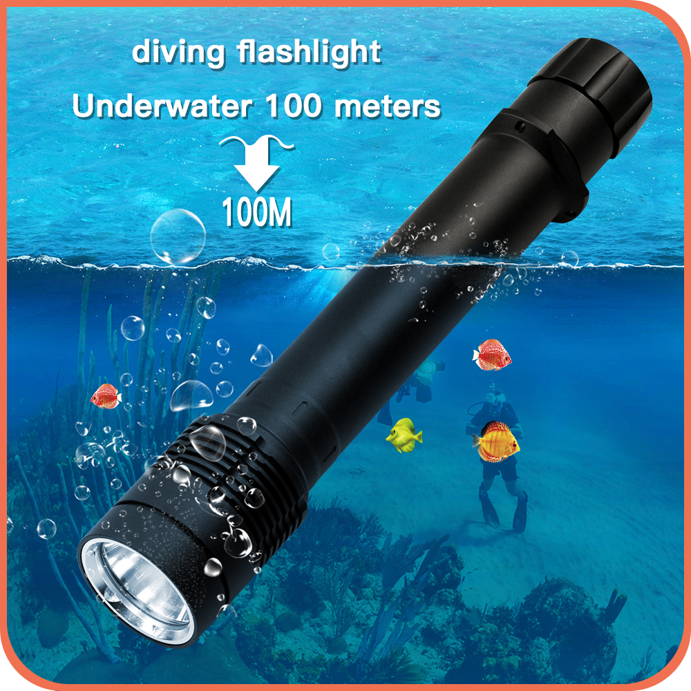 100M Underwater LED Diving Flashlight XML2 L2 diver Torch 1000 LUMEN 2 X 26650 battery NOT included(China (Mainland))