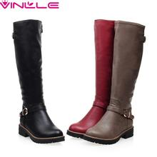winter shoes round toe fashion women knee-high boots PU leather all-match med-heel black grey red ladies shoes(China (Mainland))