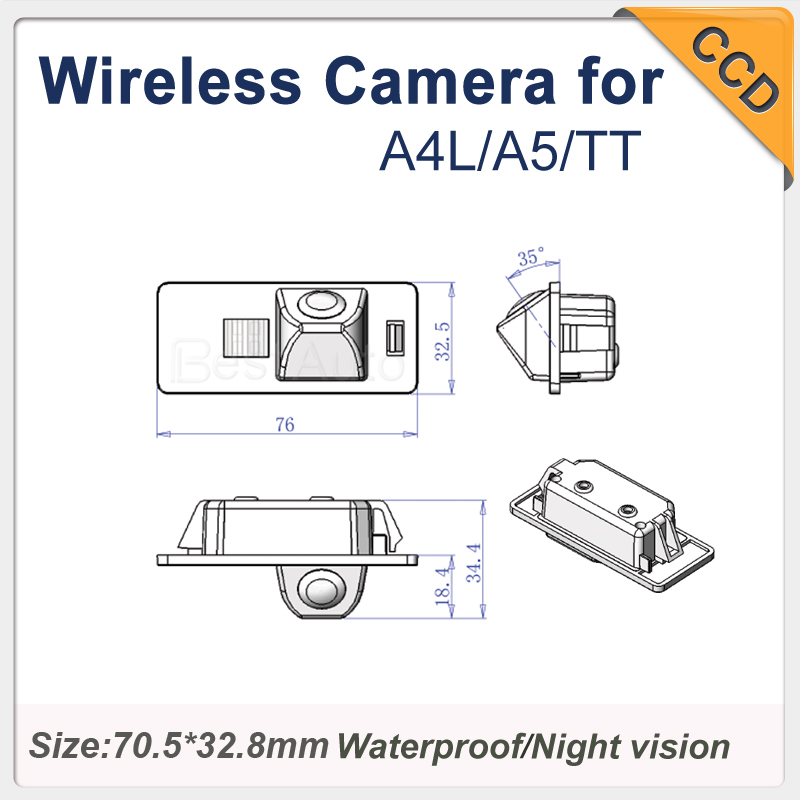 "for Audi A4L/A5/TT Pixels 728*582 night vision Wholesale Car Camera wireless CCD 1/3"" car parking camera waterproof Camera(China (Mainland))"