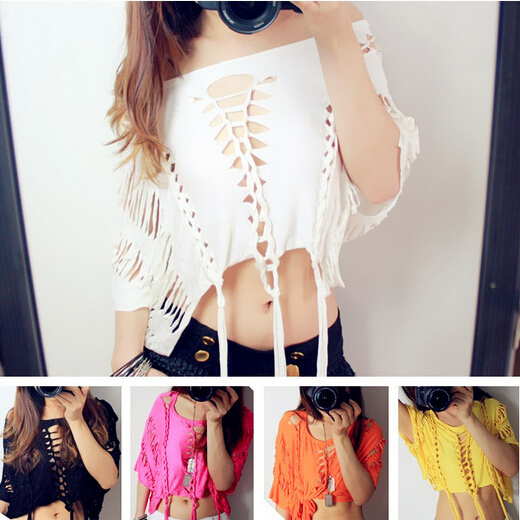 Brand New Design Fashion Sexy Singer DS Costume Hollow Out Women Hip Hop Tops Tee Shirts 3 Colors(China (Mainland))