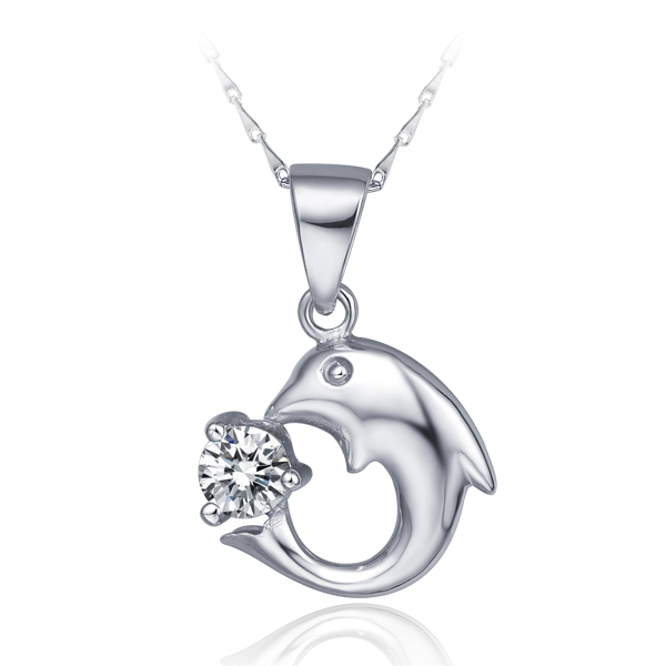 Korean 2015 new fashion fine silver chain jewelry dolphin pendants necklaces for women(China (Mainland))
