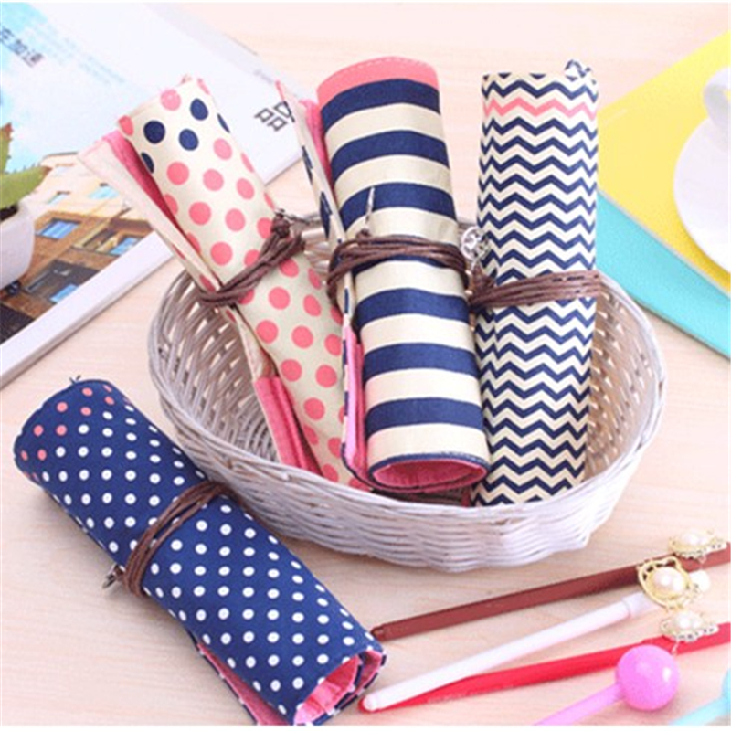 4 pcs/Lot Vintage canvs pencil case Roll pen bag storage for for stationery makeup organizer estuches School supplies(China (Mainland))