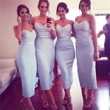Sheath Short Open Back Satin Women Formal Gowns Spaghetti Straps Modest Tea Length font b Bridesmaids