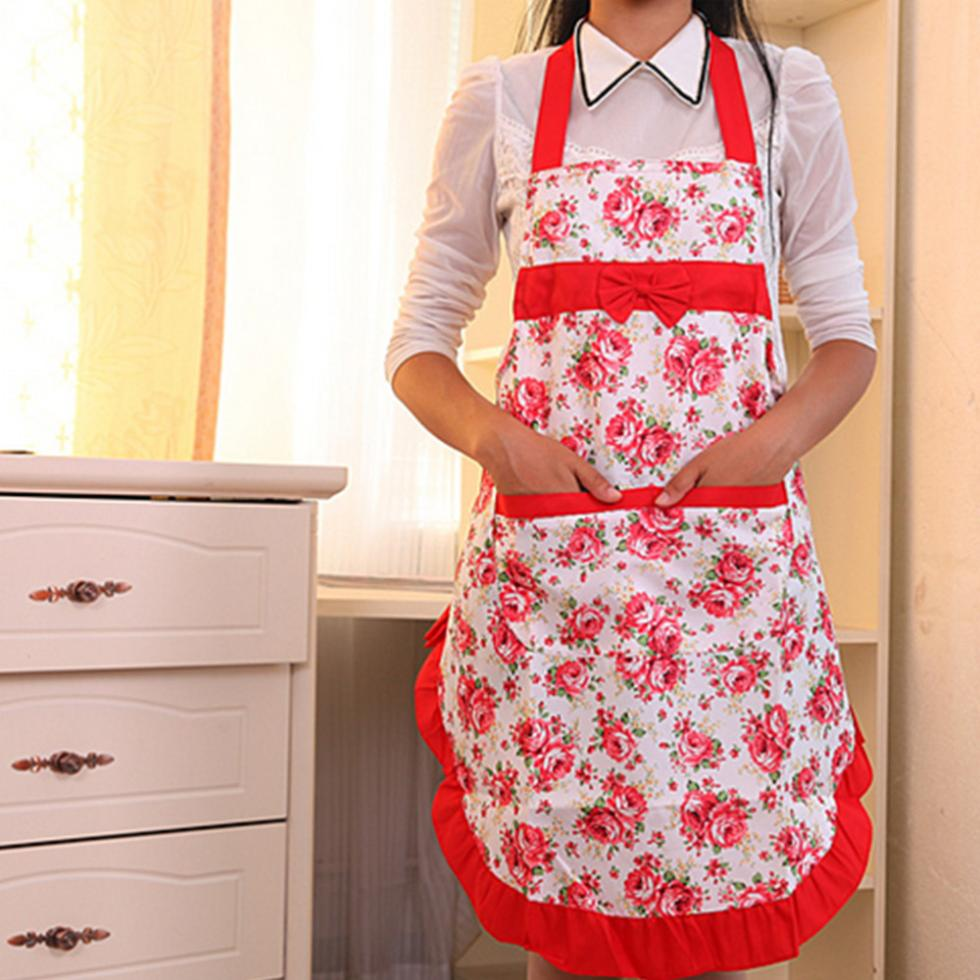 Women Lady Floral Roses Apron for Cooking Kitchen Chef Waitress(China (Mainland))