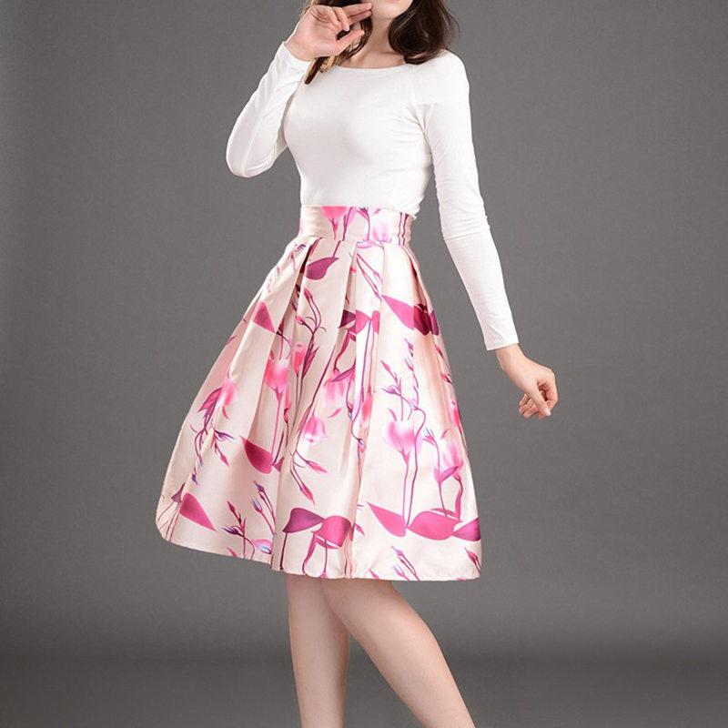 floral skirt midi skirt high waist skirts womens