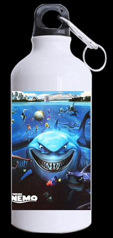Recent aggressively cartoon movie Finding Nemo A big Sharks Bruce Kettle size about 400ml capacity Aluminum sports Bottle(China (Mainland))