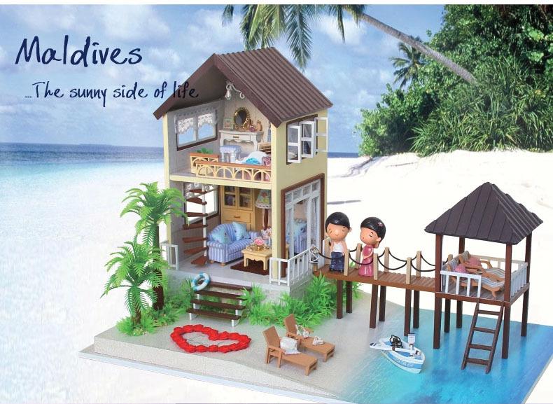 Buy beach huts wooden dollhouse miniature house model diy for Model beach huts