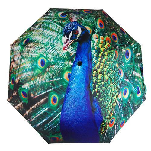 Free Shipping H&L 21 inch Peacock Animated Painting Anti-UV 3 Folding Sunny Rainy Umbrella(China (Mainland))