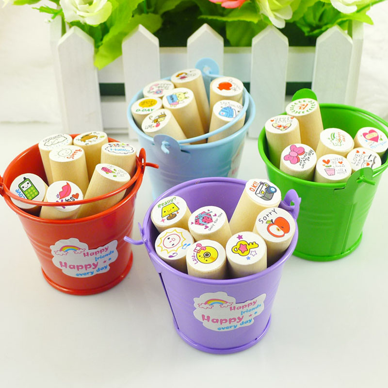 Korean Small Drum Seal Kids Cartoon Stamp Children Custom Wood Inking Toys Stampers 7 pcs Stamps with 1 pcs Colored Ink(China (Mainland))