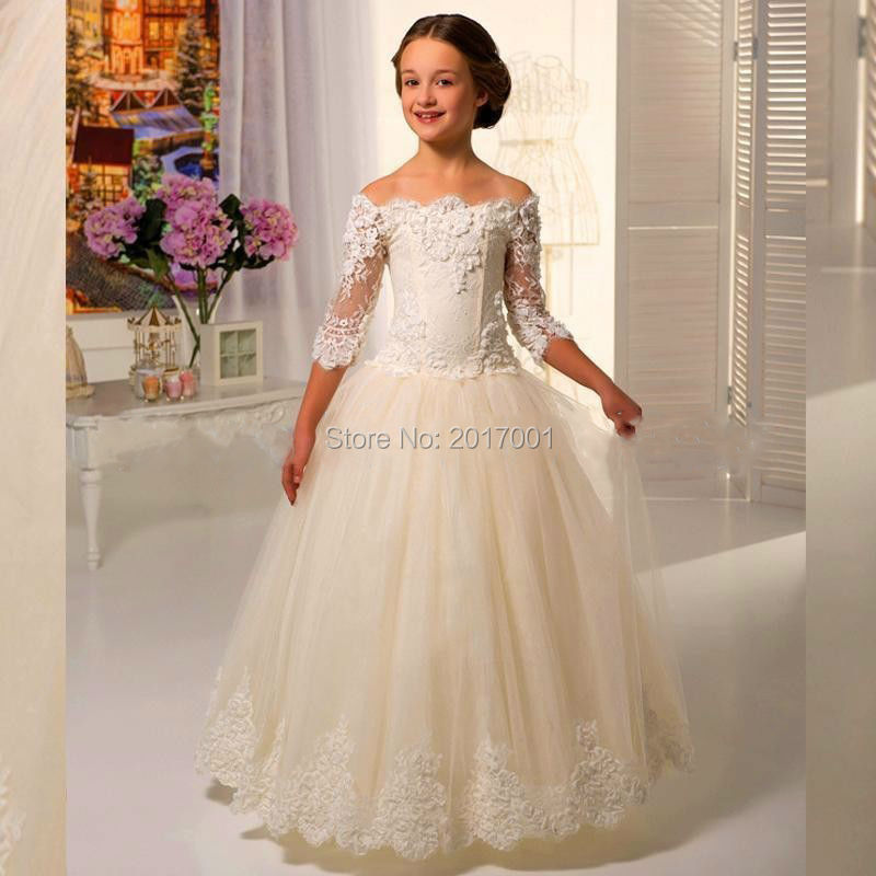 Scoop Lace Applique Floor Length Tulle Three Quarter Sleeves Flower Girl Dresses For Weddings Girls First Communion Dress Gowns(China (Mainland))