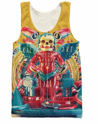 Urban Outfitters Tank Top skeleton angel with donuts robots and the phrase KILL ART Vest Summer Style Jersey For Women Men(China (Mainland))
