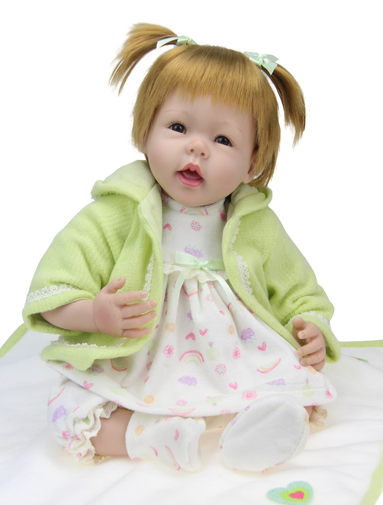 22 inch Collectible baby Silicone vinyl reborn baby girl doll  lifelike newborn baby doll toys hand-rooted mohair handmade