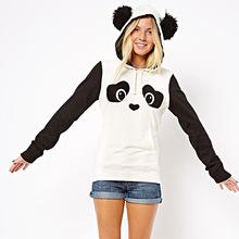2016 autumn winter New panda hoodie jacket lady animal hoodie women panda sweatshirt with ears Cosplay Animal hoodies tracksuits(China (Mainland))