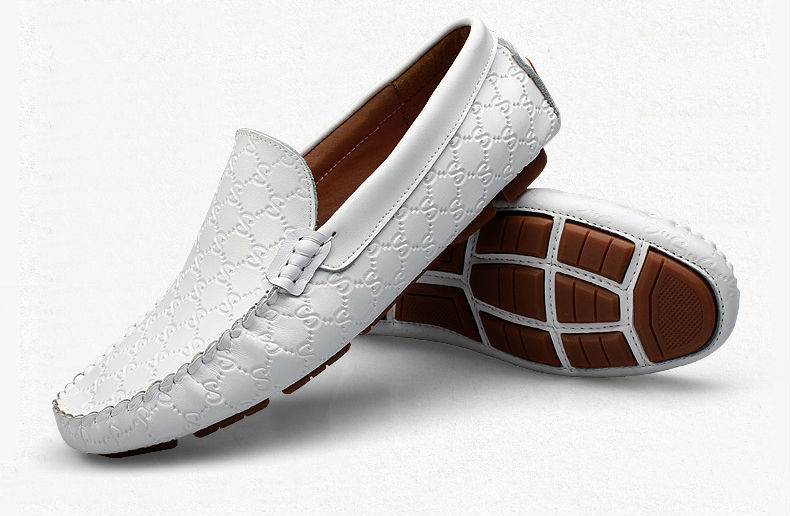 Black White  US Size 6-10 Textured Leather Men Driving Moccasin Loafer Slip On Casual Shoes