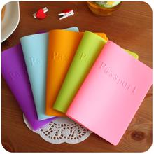 6 Colors of Candy Colors Women Men Passport Holder Leather Bags Passport Cover Silicone Documents Folder(China (Mainland))