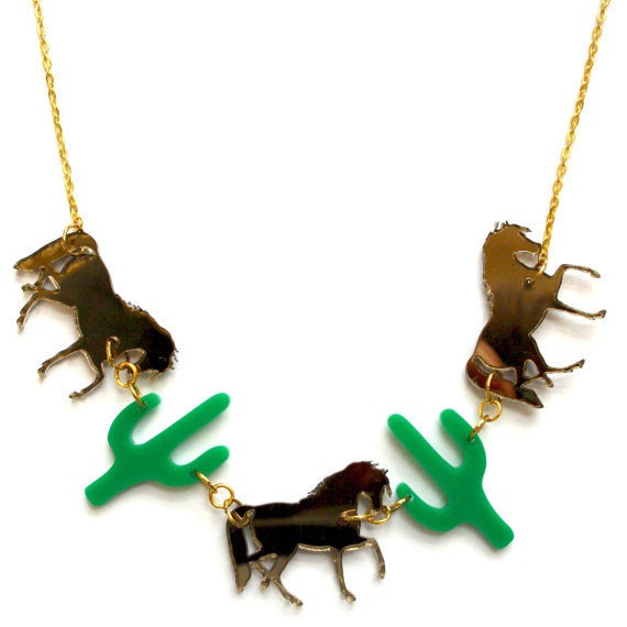 Cowboy Themed Horse and Cactus Necklace  <br><br>Aliexpress