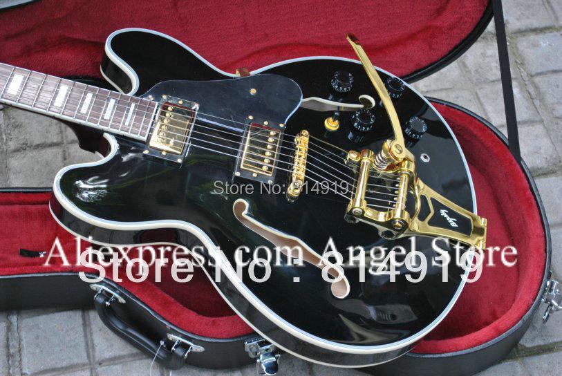 Black 335 JAZZ Semi Hollow body Electric Guitar with Bigsby Tremolo(China (Mainland))