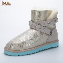 INOE moda genuina piel de oveja de cuero corta de tobillo botas de nieve de invierno con zapatos de hebilla de la correa para las mujeres naturaleza de piel forrada(China (Mainland))