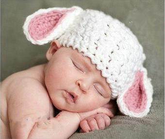 New Baby Knitting White Rabbite Cap Handmade Infant Bunny Hat Baby Knit Crochet Newborn Photography Props Outfit(China (Mainland))