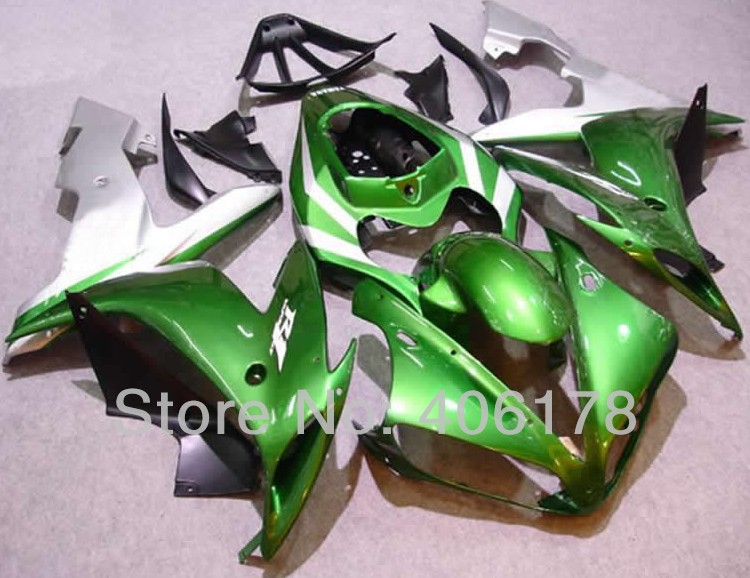 Hot Sales,Yzf1000 R1 04 05 06 fairing kit For Yamaha Yzf-R1 2004-2006 Race Bike Green and Silver Body kit (Injection molding)(China (Mainland))