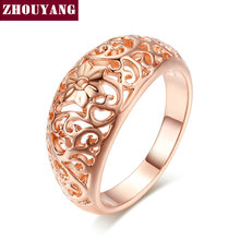 Top Quality Flower Hollowing craft 18K Rose Plated Ring Fashion Jewelry Full Sizes Wholesale ZYR281(China (Mainland))