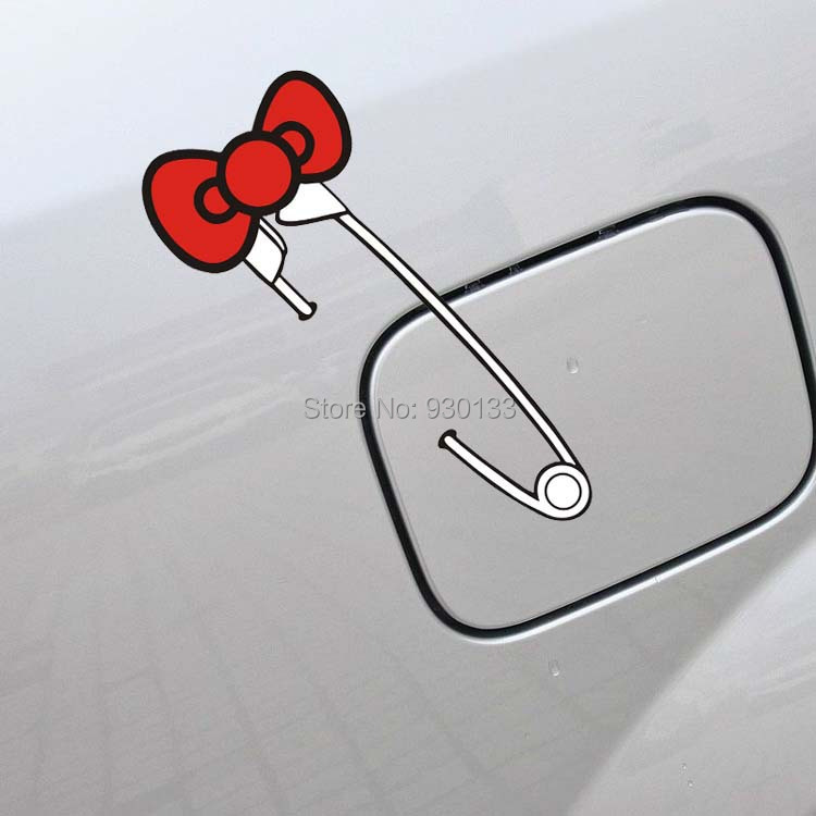 N-783 HELLO KITTY paperclip with a bow car stickers 19x8cm decals 3D Carbon Fiber Vinyl cute cartoon Car Sticker accessories(China (Mainland))