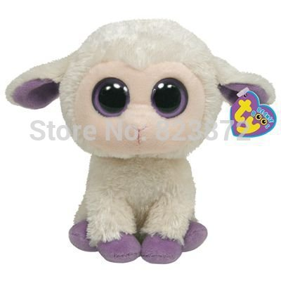 New TY Beanie Boos Clover the Lamb Sheep Plush Animals 6'' 15cm Ty Big Eyes Stuffed Animal Cute Soft Toys for Children Kids Gift(China (Mainland))