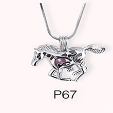 Beautiful horse Silver plated necklace cage pendant 5 pcs(China (Mainland))