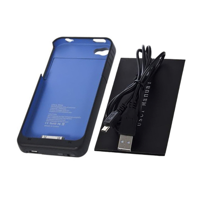 1900mAh External Backup Battery Charger Case Replacement Repair Parts Blue For iPhone 4 /4S Wholesale(China (Mainland))