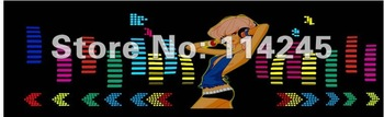 2015 new 90CM*25CM Car Music rhythm lamp led sound activated equalizer girl Multi color flashing
