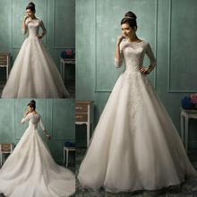 Amelia Sposa Long Sleeve Wedding Dresses 2015 Spring White Ivory Organza Scalloped Lace Sheer Cheap A-Line Bridal Bidal Gowns(China (Mainland))