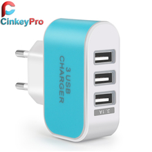 CinkeyPro 5V 3A EU Plug 3 Ports Multiple Wall USB Smart Charger Adapter Mobile Phone Device Fast Charging for iPhone iPad(China (Mainland))