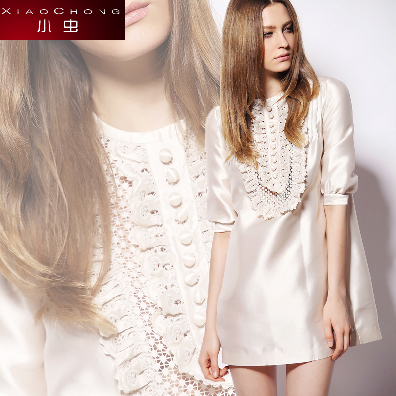 Small 2014 summer embroidery crochet lace fashion half sleeve one-piece dress female xc1 for 4s 3053(China (Mainland))