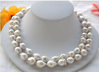 2strands 13mm white almost round Edison PEARL NECKLACE MABE Lovely Womens Wedding Jewelry Pretty!<br><br>Aliexpress