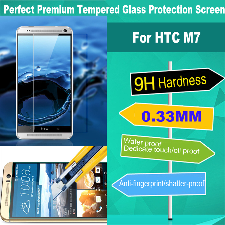 Free DHL Shipping 200pcs 0.33 mm tempered glass screen protector film M7 applies to HTC ONE M7 802T explosion-proof membrane(China (Mainland))