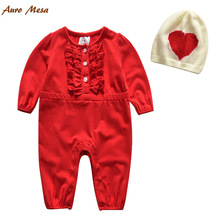 During the spring and autumn 2016 girls red ha clothing hat two-piece cotton long sleeve baby climb clothes a undertakes(China (Mainland))
