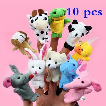 Hot Sales 10x Cartoon Biological Animal Finger Puppet Plush Toys Dolls Child Baby Favor Free shipping