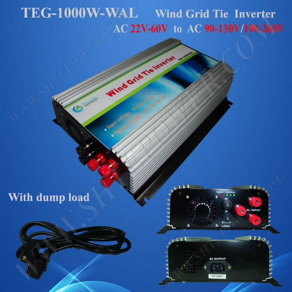 With Dump Load 22-60V AC to AC 110V/220V/230V/240V 3 Phase Wind Grid Tie Inverter 1000W(China (Mainland))