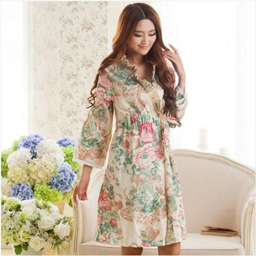Spring long sleeve pajamas women woven cotton nightgown lace nightgown bathrobe elegant sweet(China (Mainland))