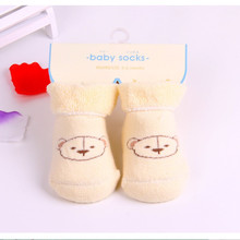 Free shipping 100% cotton Baby socks new born socks cartoon printed Cute Bear Pattern warm soft kid's socks 0-6months baby F240