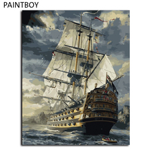 Hot Selling No Frame Sailing Boat DIY Oil Painting By Numbers Kit Paint On Canvas Home Wall Art Picture GX6923 40*50cm(China (Mainland))