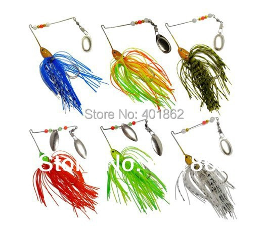 Free ship 6pcs Weight 18g Fishing Spinner Lure Spinnerbait Pike Bass jig head rubber fishing lures(China (Mainland))